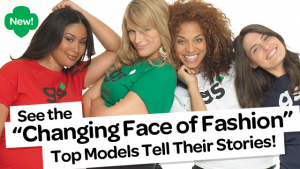 "Palmer, Henderson, Miller and Sims pose for the Girl Scouts. Text: ""Changing the face of fashion"" - Top models tell their stories!"