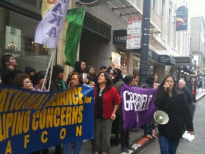 GABRIELA-USA & NAFCON contigency, holding signs and banners, protesting in front of the SF Philippine Consulate
