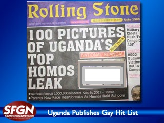 Photo of Rolling Stone newspaper. Headline reads 100 Photos of Uganda's Top Homos Leak