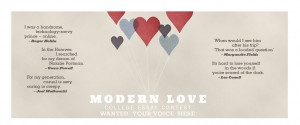 Modern love header with heart balloons and quotes