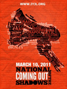 Red and black poster for National Coming Out Day