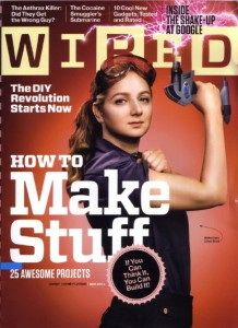 "Picture of cover of WIRED magazine, with woman holding power tool in a ""Rosie the Riveter"" style"