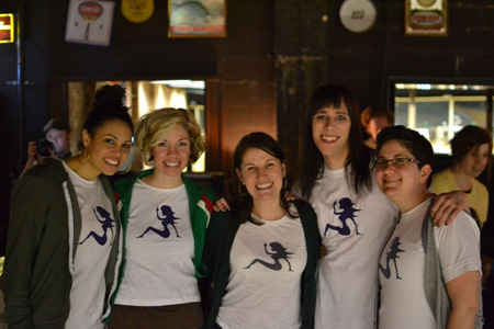 Lori, Maya, Vanessa, Jos and Miriam in Feministing tshirts at the Bowl-a-Thon