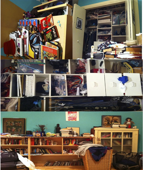 Three stacked photos of many objects in a room