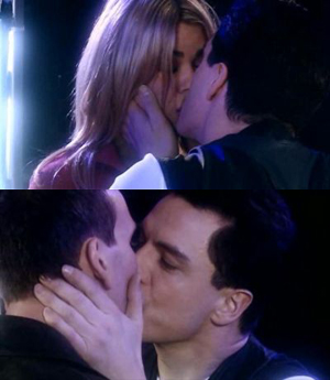 Captain Jack Harkness kisses Rose and The Doctor from Dr Who