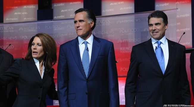 Bachmann, Perry, and Romney at the GOP Debate