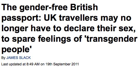 The gender-free British passport: UK travellers may no longer have to declare their sex, to spare feelings of 'transgender people'