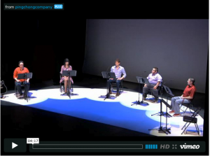 Screenshot from documentary trailer of the five cast members on stage
