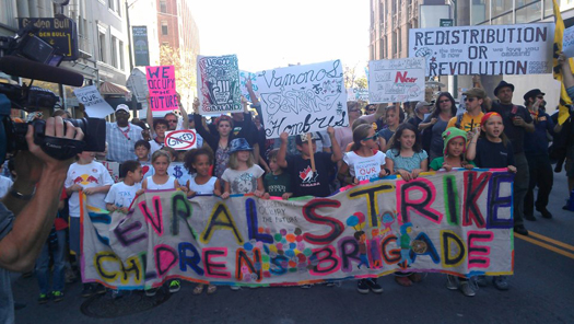 Occupy Oakland general strike children's brigade marching yesterday