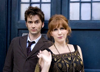 The Doctor and Donna in front of the TARDIS