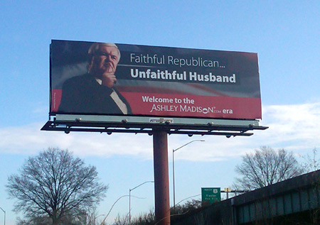 Billboard of Newt Gingrich reads Faithful Republican, Unfaithful Husband