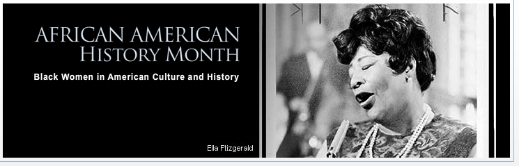 Logo for African American History Month featuring Ella Fitzgerald