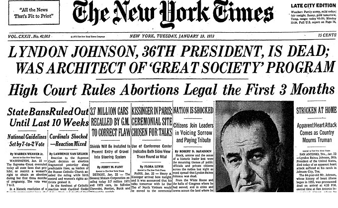 Roe v Wade newspaper headline