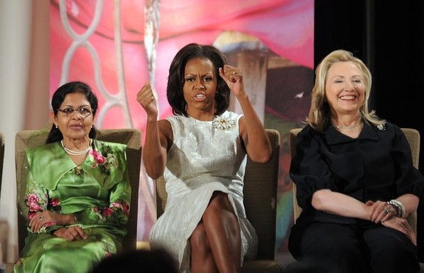 Michelle Obama, Hilary Clinton, Aneesa Ahmed of Maldives at the 2012 International Women of Courage Awards ceremony at the State Department