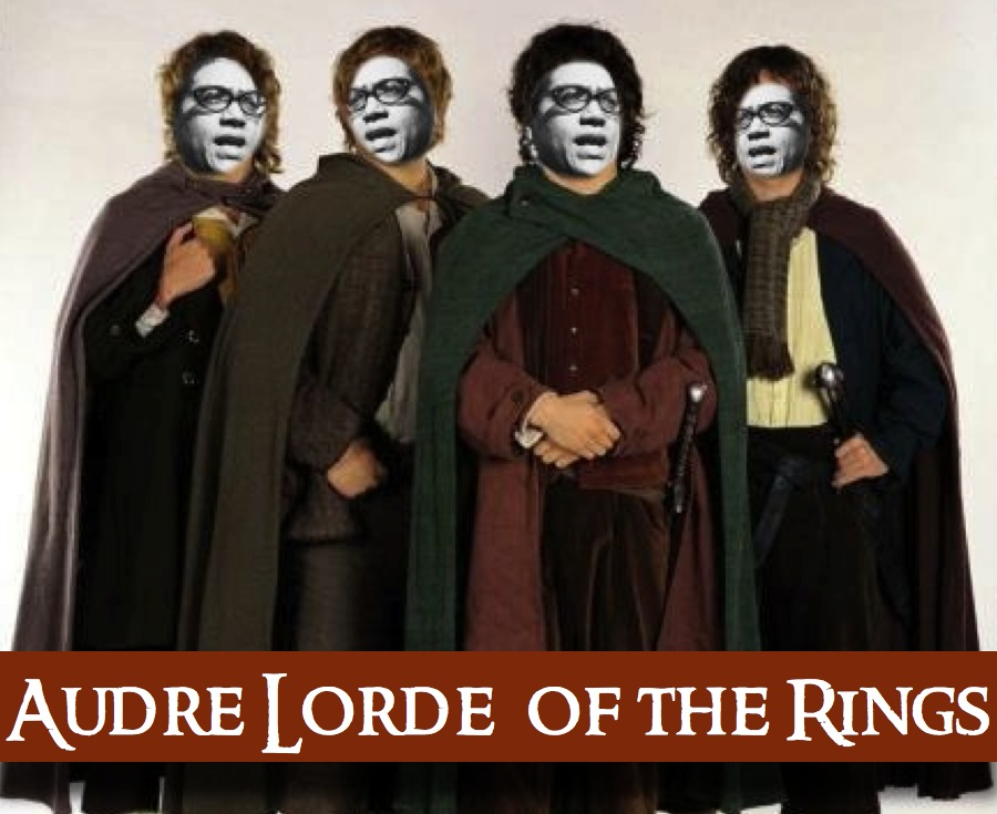Audre Lorde of the Rings. The four main hobbits with their faces replaced with Audre Lorde's