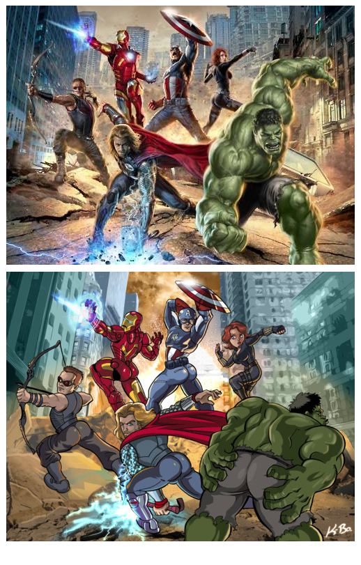The Avengers promo image, with the male superheroes drawn to show off their asses