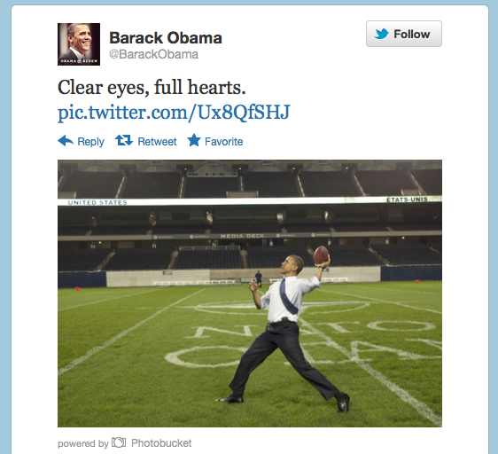 "Tweet by Obama with text ""Clear eyes, full hearts"" with image of Obama throwing football."
