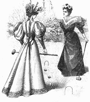 Black and white Victorian illustration of two ladies in large dresses and hats playing croquet