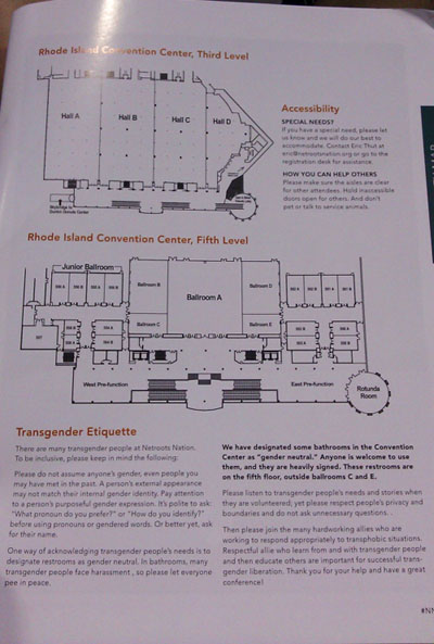 Maps and Transgender Etiquette statement from the Netroots Nation conference program