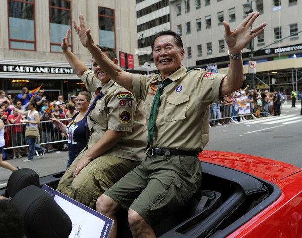 Actor George Takei rides down 5th Avenue
