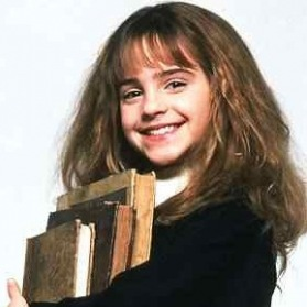 Hermione holding books