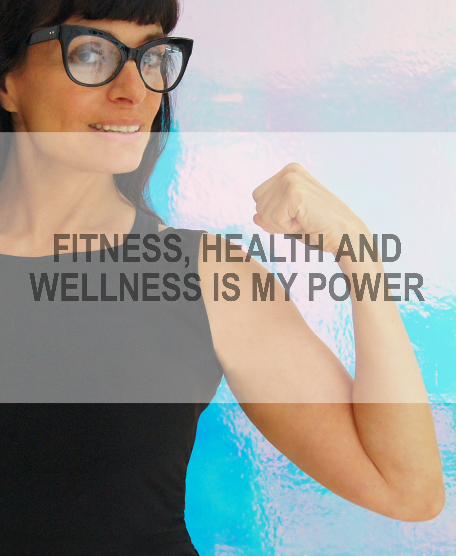 "Norma flexing her arm with the quote ""Fitness, Health & Wellness is my Power"" in front"