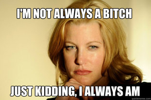 "Skyler White with text ""I'm not always a bitch. Just kidding, I always am"""