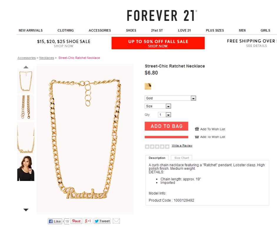 Forever 21 ratchet necklace screenshot