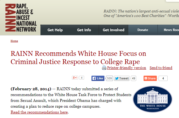 Screenshot of webpage: RAINN Recommends White House Focus on Criminal Justice Response to College Rape