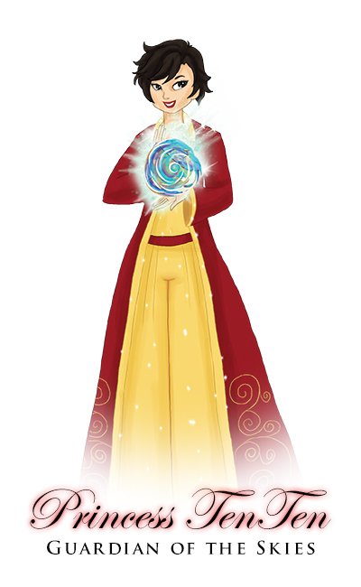 Image of Princess Ten Ten, with short black hair and a long robe and pants, she defies gender norms in East Asia.