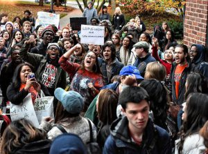 Students protesting the corportization of the university at Syracuse University.