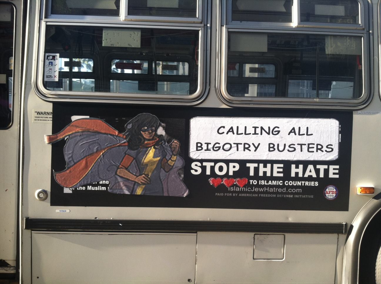 """Ms Marvel with """"calling all bigotry busters"""" text"""