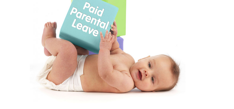 "baby playing with block with text: ""paid parental leave"""