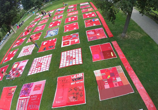 quilt squares on the lawn