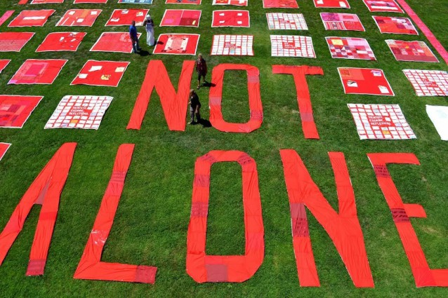 "Monument Quilt with words: ""Not alone"""