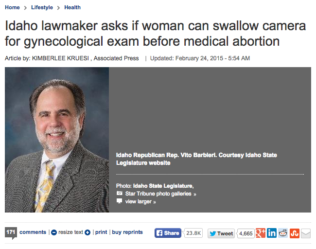 Idaho lawmaker asks if woman can swallow camera for gynecological exam before medical abortion