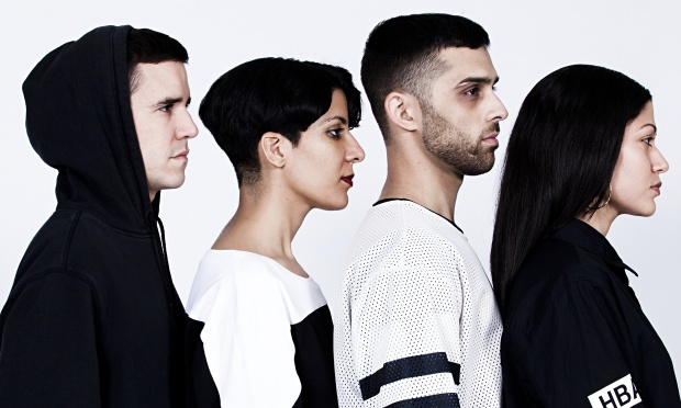The four members of Future Brown: two men, two women, wearing black and white and photographed at a profile