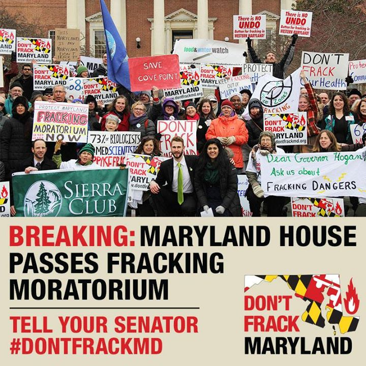 "In this image, activists stand holding signs calling for a ban unfrocking. The text reads ""Breaking: Maryland House Passes Fracking Moratorium."""