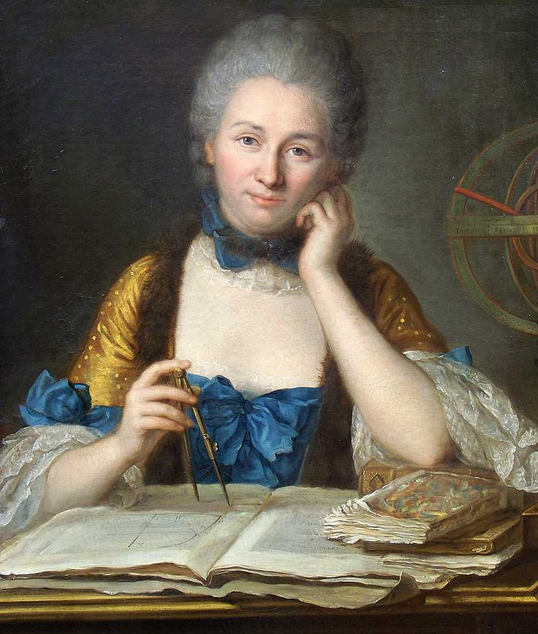 """Madame du Châtelet at her desk,"" detail, Maurice Quentin de la Tour, mid-18th century"