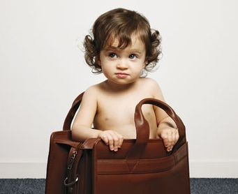 baby in briefcase