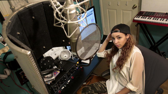 Tinashe: singer-songwriter, producer, self build bedroom studio (photo: Lawrence K. Ho)