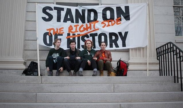 stand on the right side of history sign