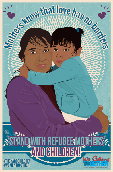 """Image depicts a mother holding her daughter. Both look scared,. Image captioned """"Mothers know that love has no borders."""""""