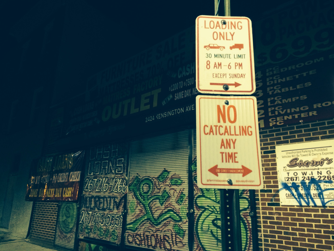 """No catcalling any time"" sign"