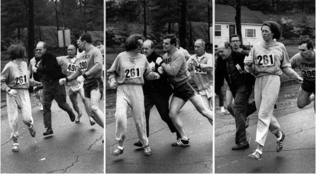 Kathrine Switzer running in the Boston Marathon