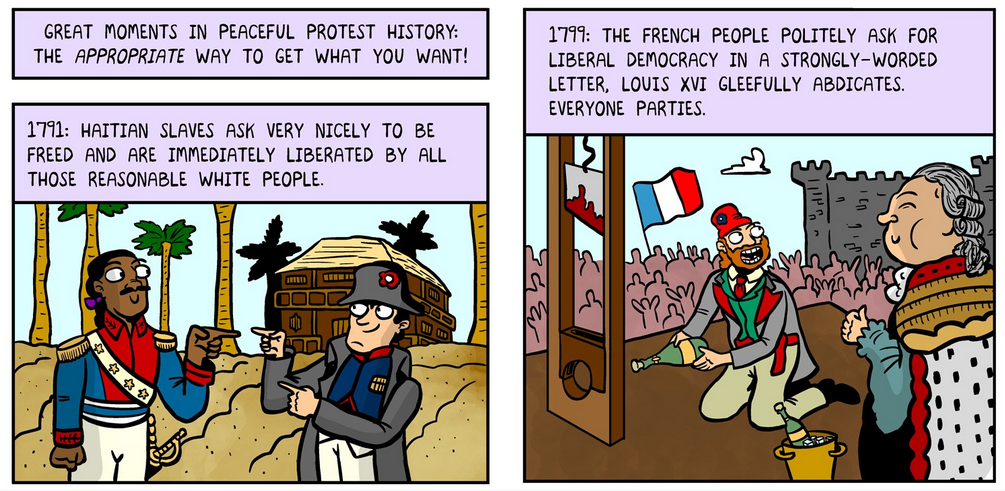 comic of protests that weren't peaceful throughout history