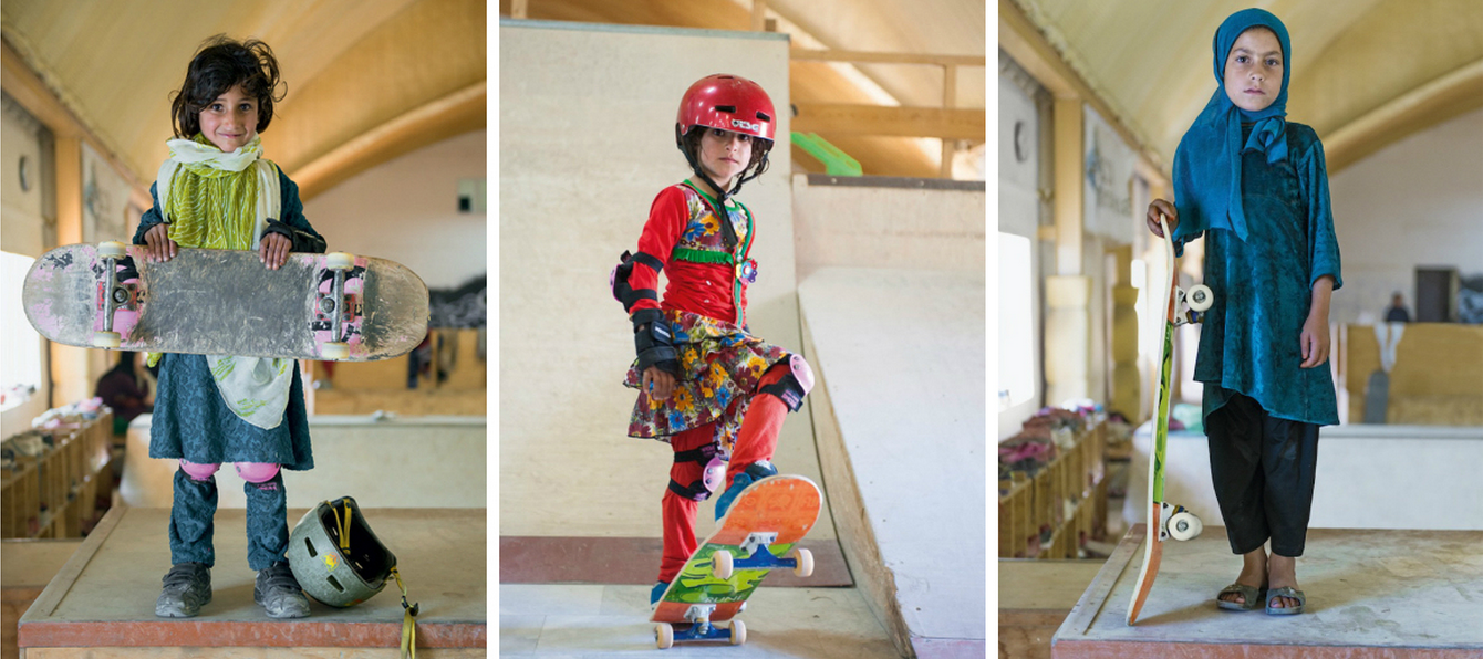 Afghan girls on skateboards