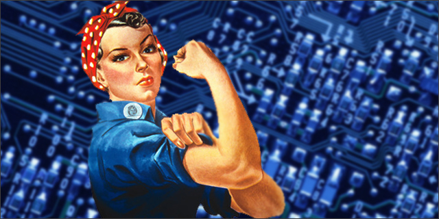 rosie the riveter in front of computer board