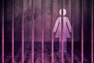 women icon behind bars