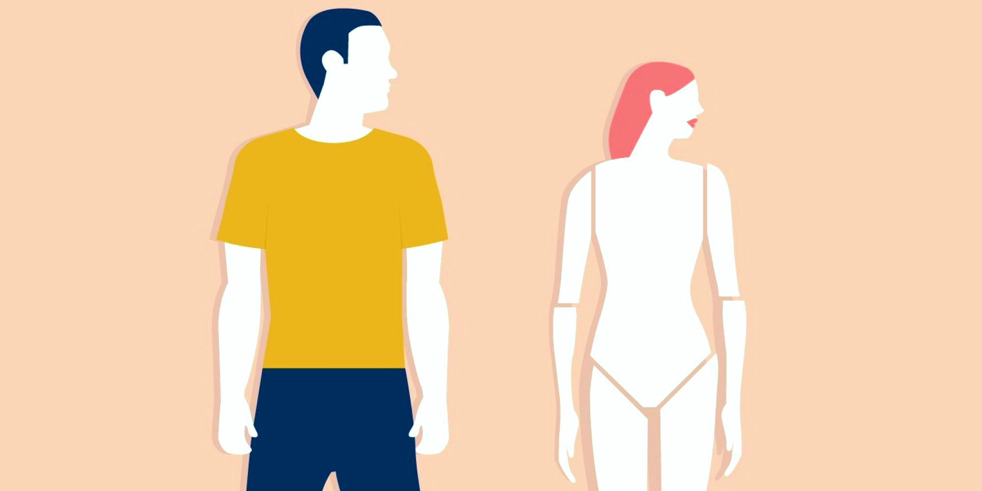 Image features a masculine presenting person wearing a yellow shirt and blue shorts standing next to a feminine presenting person meant to be a woman wearing no clothing with doll-like joints on her hips and elbows.